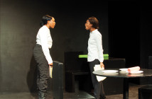 """UCR student actresses Kara Grimes and Susane Joseph act out a scene in """"Oupost Darj"""" where they argue over survival responsibilities. This play was written by Joshua Rigsby and was part of UCR's 2016 New Play Festival. Janine Ybanez/HIGHLANDER"""