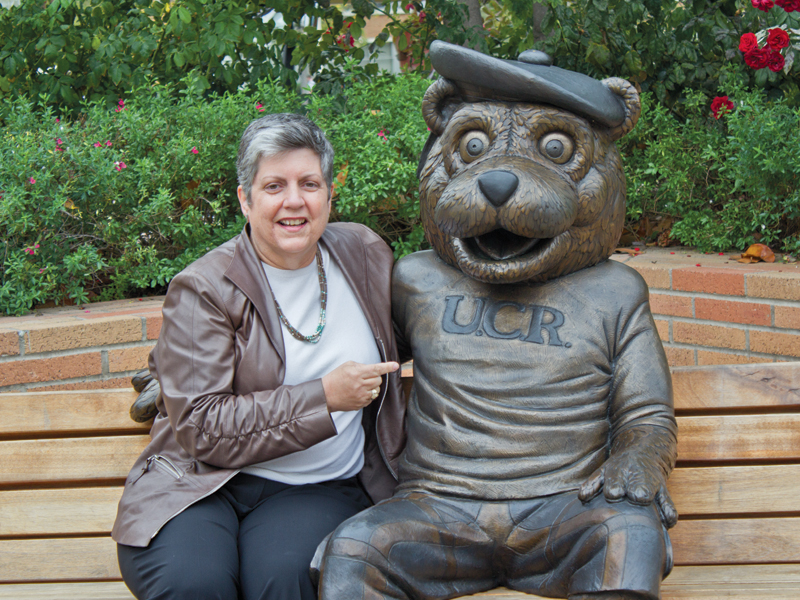 Napolitano with Scotty the Bear.