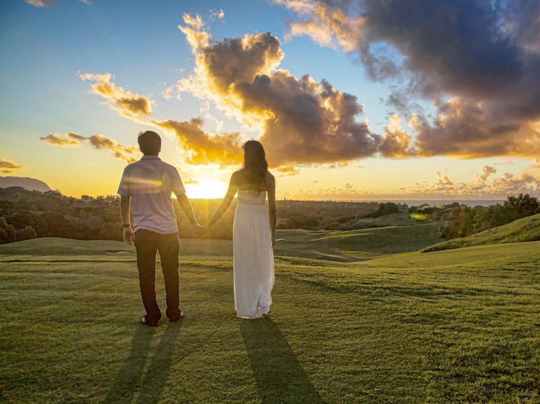 couple with sunset