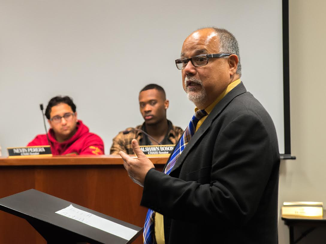 Vice Chancellor of Student Affairs James Sandoval speaking at a January 2016 ASUCR meeting. Archives/HIGHLANDER