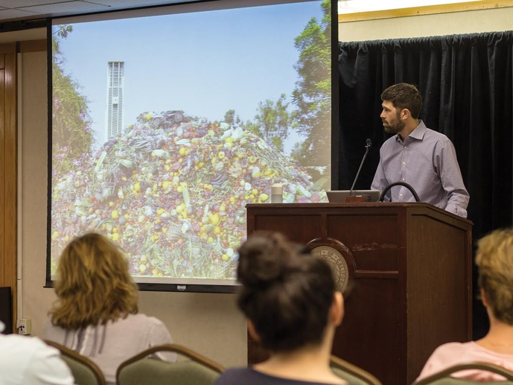 As part of his presentation, Jonathan Bloom depicted how the daily food waste in America would fit on UCR's campus.