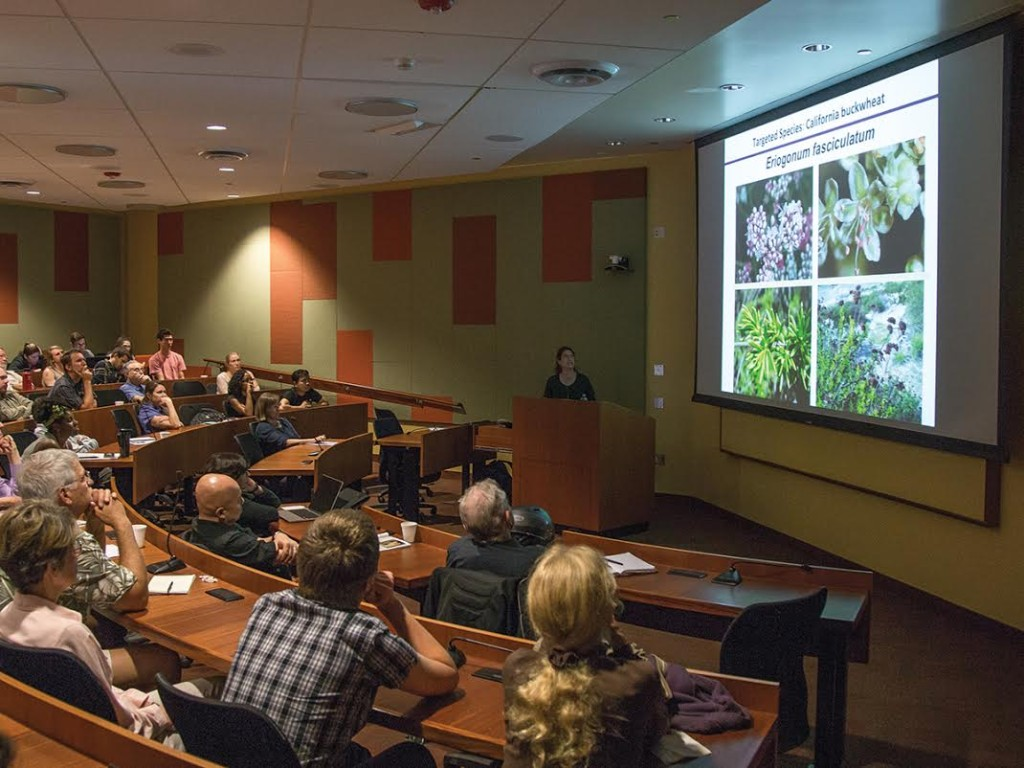 Attendees listen attentively to Susan Mazer's talk on California fauna and their role in studying climate change.