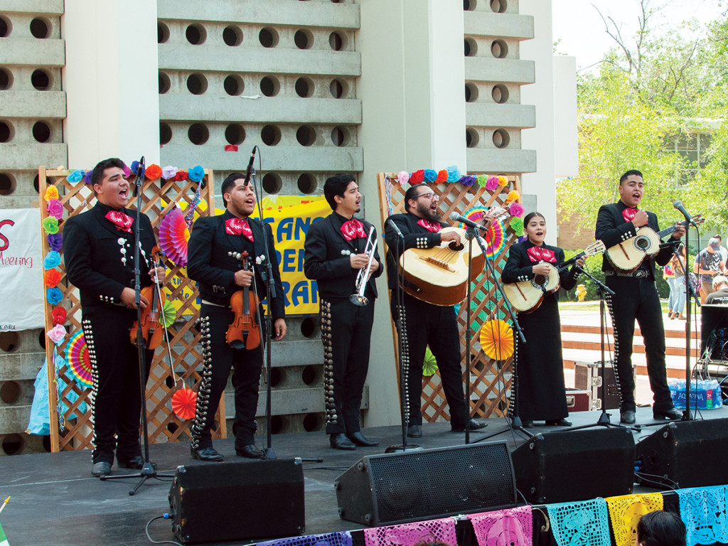 Mariachi Aztecas de Oro performs lively mariachi music during the Cinco de Mayo Nooner held by Chicano Student Programs. The nooner was part of UCR's Semana de la Raza. Janine Ybanez/HIGHLANDER