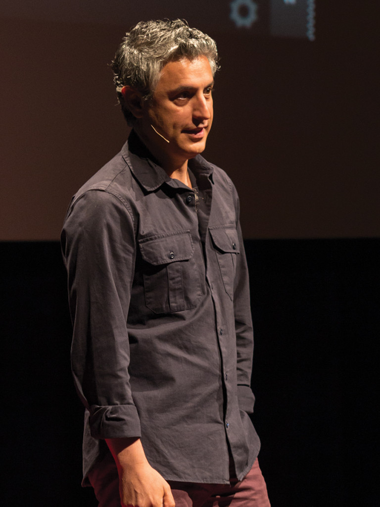 UCR professor Reza Aslan introduces himself to the crowd at TEDxUCR. Aaron Lai/HIGHLANDER