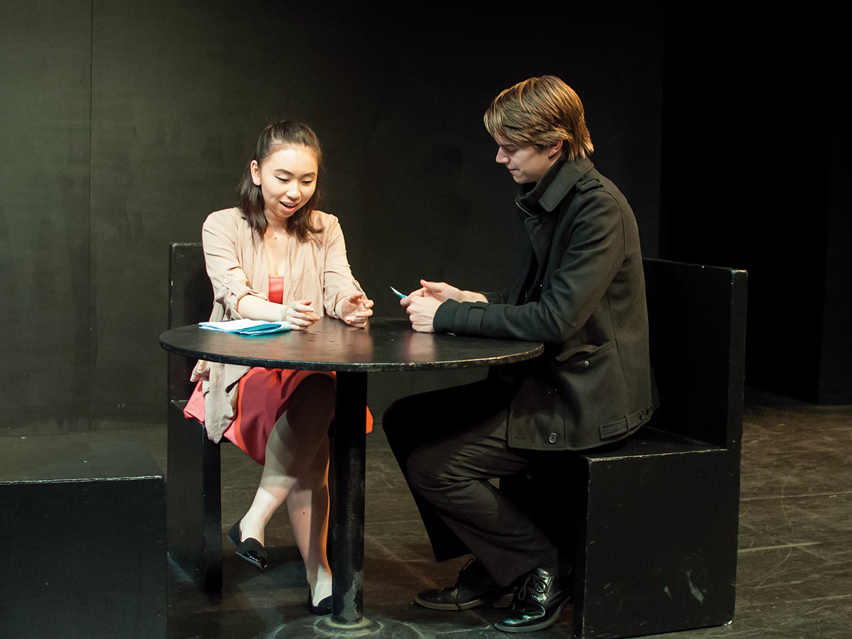 "A father and daughter (played by Amanda Sun and Josh Stephenson) discuss a past memory they shared with their late wife/mother during the play, ""Mercy Meal"" by Chelsea Hickman. This play was part of the 2016  New Play Festival hosted by the UCR Department of Theatre, Film and Digital Production. Janine Ybanez/HIGHLANDER"
