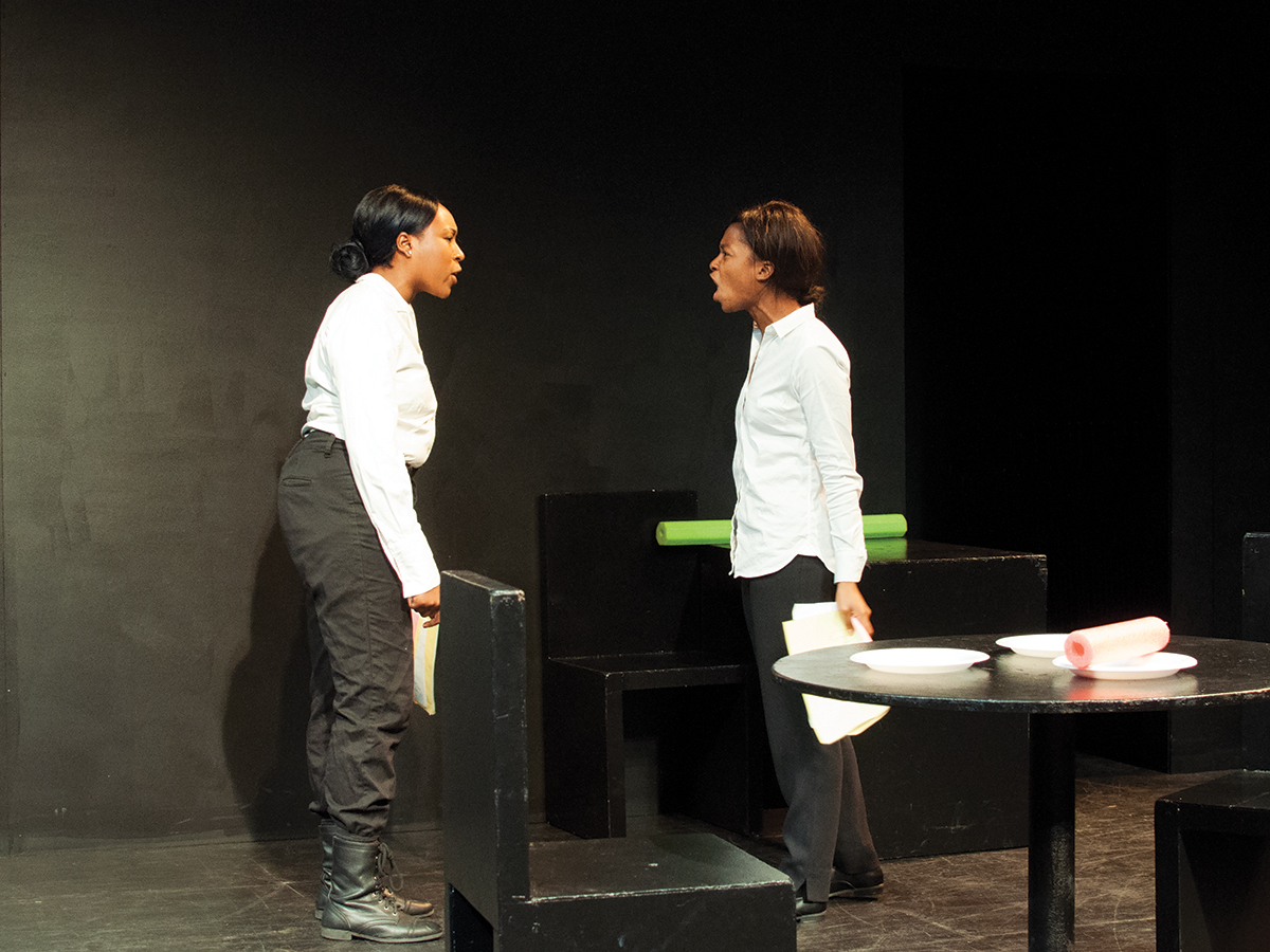 "UCR student actresses Kara Grimes and Susane Joseph act out a scene in ""Oupost Darj"" where they argue over survival responsibilities. This play was written by Joshua Rigsby and was part of UCR's 2016 New Play Festival. Janine Ybanez/HIGHLANDER"