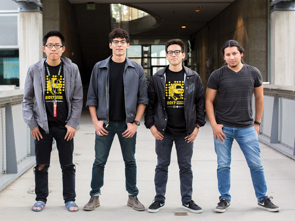 "Thomas Holguin/HIGHLANDER ""Los Hackers"" (from left to right): Gene Chow, second-year electrical engineering major, Gustavo Correa, second-year electrical engineering major, Emilio Barrero, third-year computer engineering major and Andrew Nava, fifth-year computer science major,"
